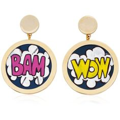RAFIDA BIJOUX Cartoon Earrings (€145) ❤ liked on Polyvore featuring jewelry, earrings, multi, comic jewelry, handcrafted earrings, comic book, handcrafted jewelry and hand crafted jewelry