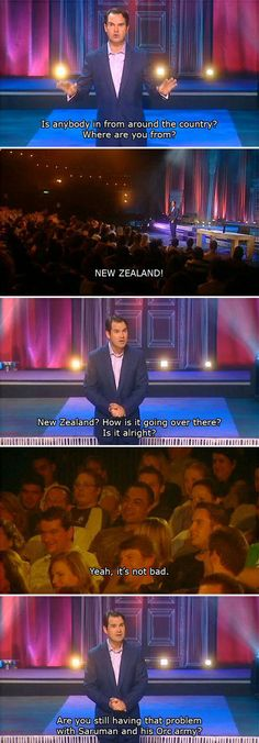 Jimmy Carr is concerned about New Zealand's orc problem.