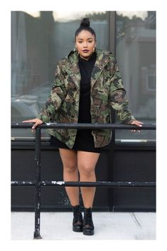Product Name:Plus Size Hooded Camo Jacket, Categor Thick Girls Outfits, Curvy Girl Outfits, Curvy Girl Fashion, Plus Size Outfits, Modest Fashion, Plus Size Fashion For Women, Fashion Tips For Women, Plus Size Women, Womens Fashion