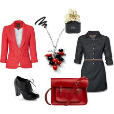 Black and red office / casual outfit