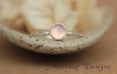Pink chalcedony promise ring
