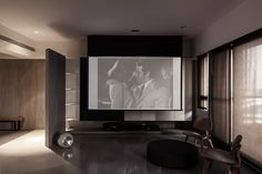 home cinema screen - but then again. Home Theater Room Design, Home Cinema Room, Home Theater Rooms, Family Room Design, Tv Feature Wall, Living Room Theaters, Flat Interior Design, Minimalist Architecture, Home Cinemas