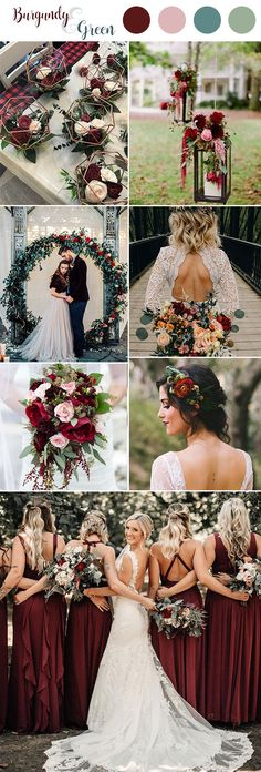 Top 10 Green Wedding Color Ideas For 2019 Trends You'll Love Top 10 Green Wedding Color Ideas For 2019 Trends You'll Love wednova wednova Wedding ideas & inspiration fall wedding color palette burgundy bridesmaid dresses olive wedding wedding Burgundy Wedding Flowers, Fall Wedding Colors, Wedding Color Schemes, Summer Wedding, Trendy Wedding, Wedding In October, Wedding Ideas Green, Green And Burgundy Wedding, October Wedding Colors