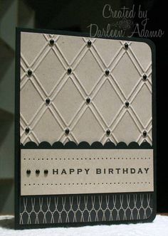 handmade birthday card: Quick Card for DOD by darleenstamps ... black and white ... luv the look of black bead on the crossing of the embossing folder diamond texture ...