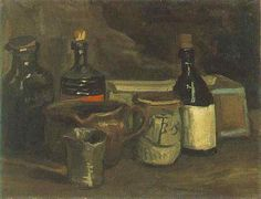 "Vincent van Gogh. ""Still Life with Pottery, Bottles and a Box"". Nuenen: November-April, 1884. Oil on canvas. 31'5x41'7cm."