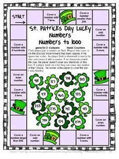 St. Patrick's Day Math Games, Puzzles and Brain Teasers is from Games 4 Learning - It includes printable St. Patrick's Day math board games, printable St. Patrick's Day math puzzle sheets and St. Patrick's Day math brain teaser cards. $