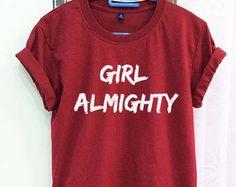 Girl Almighty Shirt One Direction 1D Crimson Red Women Tshirt Tee Short Sleeve T-Shirt SMLXLXXL