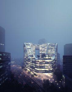 Work / Mir - Bergen, Norway. Exterior architectural visualization. 3D rendering. Matte painting.