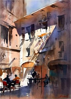 shadow-piazza biscione-rome thomas w schaller - plein-air watercolor Watercolor City, Watercolor Landscape Paintings, Watercolor Sketch, Watercolor Artists, Watercolor Techniques, Watercolor Portraits, Abstract Paintings, Watercolor Illustration, Watercolor Flowers