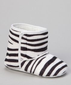 Take a look at this White & Black Zebra Booties by Sparkle Adventure on #zulily today!