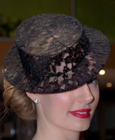 Black lace boater hat from Cynthia Jones-Bryson, Canberra Milliner  #millinery #judithm #hats