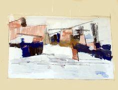 Jean-Paul BARRAY, Abstraction, gouache sur papier, 1958 Technique : gouache sur papier, cachet sec de l'atelier, 51 X 67 cm.