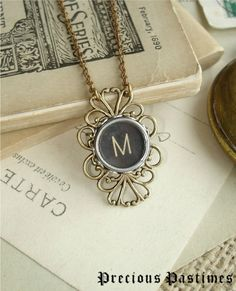 "Typewriter ""M"" Key Jewelry from PreciousPastimes $43"