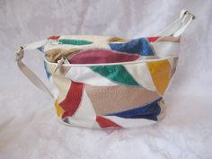 White leather patchwork bag purse, 70s purse, vintage handbag, shoulder bag