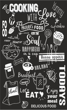 Krijtbord sticker – – Rebel Without Applause Chalkboard Art Kitchen, Chalkboard Art Quotes, Blackboard Art, Chalkboard Lettering, Chalkboard Designs, Hand Lettering, Cafe Interior Design, Cafe Design, Kitchen Posters