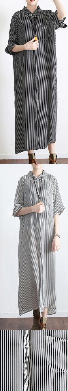 dark gray striped linen dresses plus size casual silk sundress short sleeve shirt maxi dress5