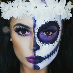 33 Simple Sugar Skull Makeup DIY Halloween Makeup Ideas - juelzjohn 33 Einfache Sugar Skull Make-up DIY Halloween Make-up-Ideen - Juelzjohn Halloween Makeup Sugar Skull, Unique Halloween Makeup, Halloween Looks, Halloween Diy, Candy Skull Makeup, Candy Skull Costume, Sugar Skull Makeup Tutorial, Sugar Skull Make Up, Sugar Skulls