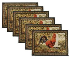 Park B. Smith Tuscany Rooster 6-Piece Tapestry Placemat Set, 12-1/2 by 19-Inch by Park B. Smith. $29.74. Machine washable. Detailed tapestry construction suitable for many settings. 70% Cotton / 30 % Polyester. Imported with coordinates available. Invokes memories of the european countryside. Cotton rich blend. The Tuscany Rooster tapestry 6-Piece placemat set from Park B. Smith invities memories of the European countryside. The detailed tapestry construction is suitable for...