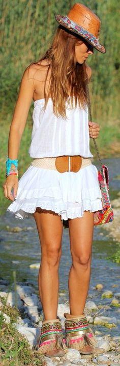 Kuka & Chic White Lace Accent Ruffle Strapless Mini Dress by Like A Princess Like.... Kuka
