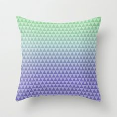 Mint Lilac Triangles Throw Pillow by Zen and Chic - $20.00