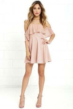 Lulus Exclusive! Be one with the butterflies in the Flutter On By Nude Off-the-Shoulder Skater Dress! Sheer Georgette ruffles along a woven, off-the-shoulder bodice with princess seams, no-slip strips, and hidden boning. Skater skirt flares to a perfect mini length. Hidden back zipper with clasp.