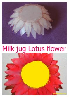 Lotus flower from milk jug! A recycle project to try with kids.