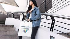 Placeit - Pretty Woman Holding Her Tote Bag Stop Motion on Stairways Pretty Woman, Pretty Girls, Stop Motion, Logos, Tote Bag, Material, Recycling, T Shirt, How To Wear