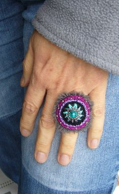 Crochet Rings, Wide Rings, Swarovski Pearls, Seed Beads, Class Ring, Jewelry Rings, Turquoise, Cotton, Handmade