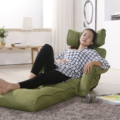 Floor Sofa Chair Recliner With Armrest Green Linen Fabric