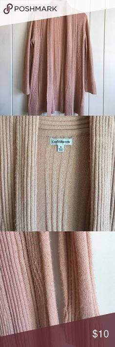 Croft & Barrow open cardigan. Peach or blush colored open cardigan.  Worn just around the house to keep warm!  Has some pilling, but could easily be shaved off, mostly on sleeves, otherwise in good condition. croft & barrow Sweaters Cardigans