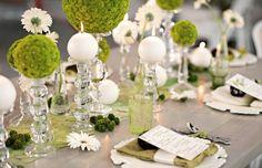 Tischdeko zur Hochzeit - Grün und Weiß