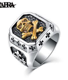 ZABRA 925 Sterling Silver 16.5mm Gold Color Skull Anchor Sculpture Cross Flower Ring Men Vintage Punk Finger Silver 925 Jewelry