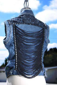 Fringe rouched, and studded vest. $90.00, via Etsy.