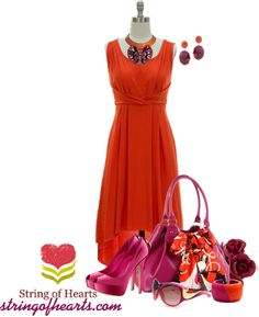 """Orange High Low Dress w/purple"" by lisa-holt ❤ liked on Polyvore"
