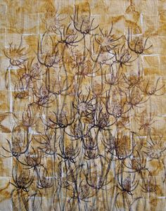 'Teasel #3' art quilt with teabags - Sabi Westoby