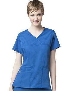 Style Code: (WI-6414)  This front Y-Neck wrap top has front seaming for shaping, two front large patch pockets and one signature WonderWink pocket. It has a double-needle stitching at front seams, shoulders and pockets and tagless neck.