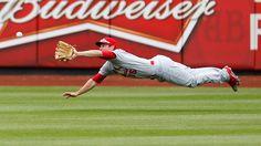 Cardinals center fielder Randal Grichuk races to make diving grab ...