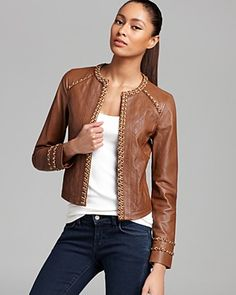 MICHAEL Michael Kors Leather Jacket with Chain   Bloomingdale's