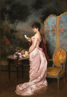 """The Love Letter"" by French painter Auguste Toulmouche, In private collection 💖 Classic Paintings, Old Paintings, Beautiful Paintings, Victorian Paintings, Victorian Art, Victorian Gown, Renaissance Kunst, Classical Art, Fine Art"