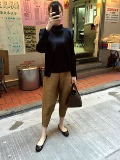 Pleats Please Issey Miyake top, cardigan and pants, Tory Burch flats, Hermes Picotin Lock in Cafe.