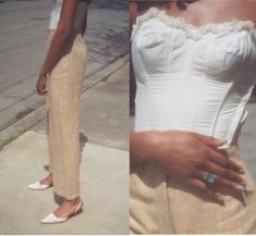 cute and comfy outfits Fashion Moda, Look Fashion, Fashion Outfits, Womens Fashion, Bustiers, White Linen Trousers, Lingerie Shop, Lingerie Models, White Bustier