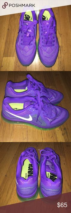 Nike Air Max 2014 Sz 8.5 Excellent condition. Purple/Neon green. Nike Shoes Sneakers