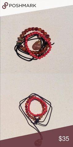 SPECIAL!!]  Semi Precious Stone Jewelry Set 2 bracelets made with orange jasper and glass beads & a necklace made with a semi precious stone. Can be sold separately. Handmade. Jewelry Bracelets
