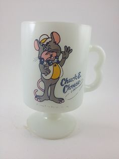 Chuck E Cheese mug milk glass rat character by GlazyDaysandNights