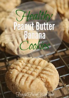 healthy Peanut Butter Banana cookies are not only egg-free, but grain-free as well! They're a hit with our family.These healthy Peanut Butter Banana cookies are not only egg-free, but grain-free as well! They're a hit with our family. Healthy Deserts, Healthy Sweets, Healthy Dessert Recipes, Healthy Baking, Vegan Desserts, Delicious Desserts, Healthy Snacks, Yummy Food, Protein Recipes