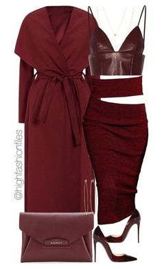 """Wine"" by highfashionfiles ❤ liked on Polyvore featuring Christian Louboutin, Givenchy, T By Alexander Wang, Dean Harris and Jennifer Zeuner"