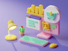 Modelos Low Poly, 3d Cinema, Desktop Design, 3d Icons, Isometric Art, 3d Assets, 3d Artwork, Game Concept, 3d Cartoon