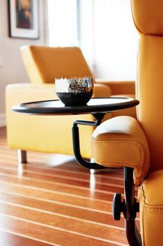 Furniture in Knoxville - Ekornes Stressless - Stressless Furniture - Yellow Seating - Modern Furniture - Home Décor - Home Interiors - Interior Design - The Design Center at Braden's - Braden's Lifestyles Swing Table, Stress Less, Table Dimensions, Quality Furniture, Decoration, Floor Chair, Space Saving, Recliner, Furniture Design