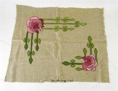 Vintage Antique Arts & Crafts Embroidered Linen Signed Richardson's Design