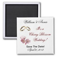 Save the Date Cherry Blossom Bride Magnet